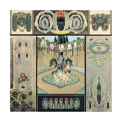 Multiple Decorative Panels with Floral Vines and Frolicking Cherubs--Art Print