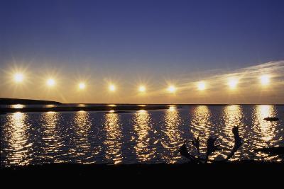 Multiple Exposure of Arctic Midnight Sun Moving across Horizon over Arctic Coast Anwr W-Design Pics Inc-Photographic Print