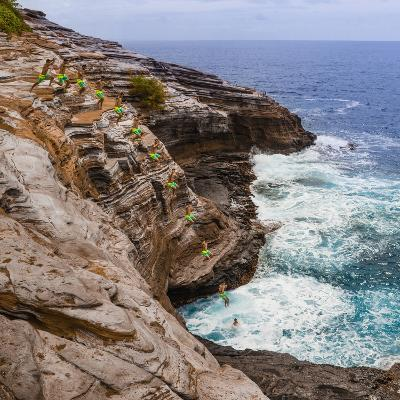 Multiple Exposure Stop Action Photo of Jump Off Cliff at Kawaihoa Point-Charles Crust-Photographic Print