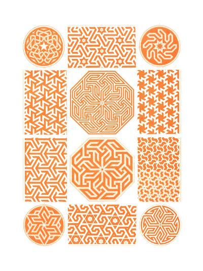 Multiple Geometric Patterns in Orange--Art Print