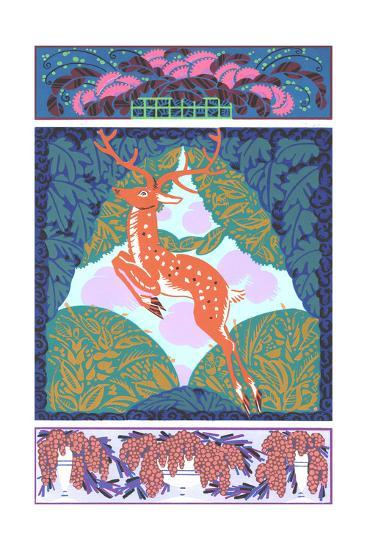 Multiple Illustrations of Stylized Deer and Fruit Bouquets--Art Print