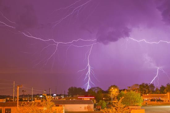 Multiple Lightning Bolts During an Intense Lightning Storm-Mike Theiss-Photographic Print