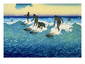 Multiple Surfers Catching Wave