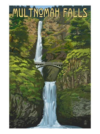 Multnomah Falls, Oregon - Summer View-Lantern Press-Art Print