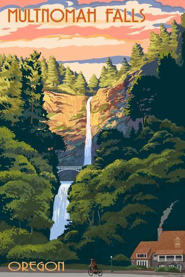 Multnomah Falls, Oregon - Sunset-Lantern Press-Art Print