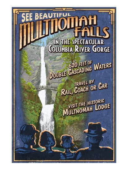Multnomah Falls, Oregon-Lantern Press-Art Print