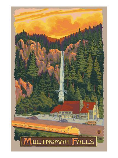 Multnomah Falls View with Train, c.2009-Lantern Press-Art Print