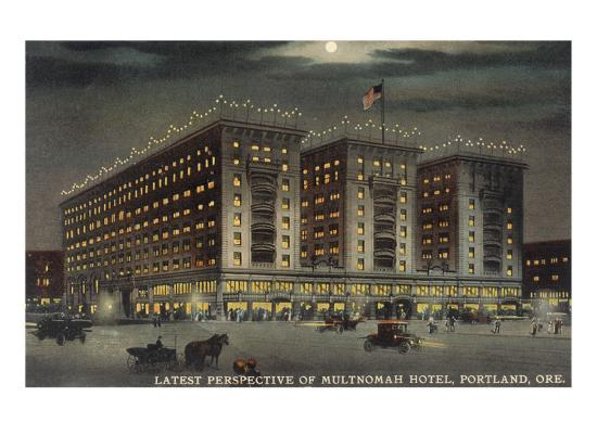 Multnomah Hotel at Night, Portland, Oregon--Art Print