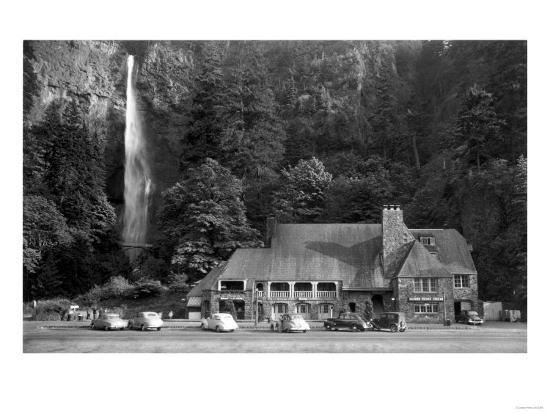 Multnomah Lodge and Falls Photograph - Columbia River, OR-Lantern Press-Art Print