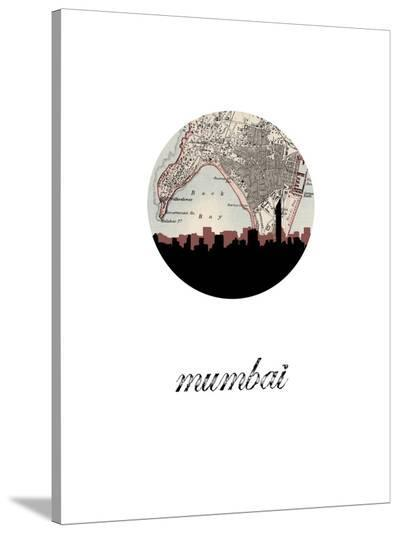 Mumbai Map Skyline-Paperfinch 0-Stretched Canvas Print