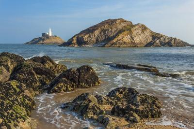 Mumbles Lighthouse, Bracelet Bay, Gower, Swansea, Wales, United Kingdom, Europe-Billy Stock-Photographic Print