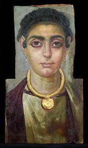 Mummy Portrait: Head of a Woman, Egyptian, 130-160 Ad (Encaustic with Gilded Stucco on Wood)