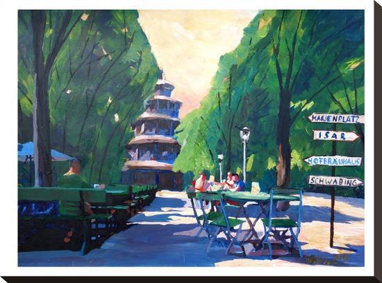 Munchen Chinesischer Turm Mit Wegweiser-M Bleichner-Stretched Canvas Print