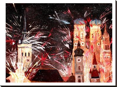 Munchen Silvester Feuerwerk-M Bleichner-Stretched Canvas Print