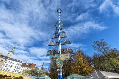 Munich, Bavaria, Germany, Maypole at the Viktualienmarkt (Food Market) in Autumn-Bernd Wittelsbach-Photographic Print