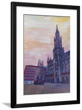 Munich City Hall and St Marys Place-Markus Bleichner-Framed Art Print
