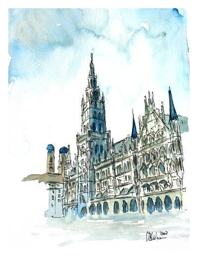 Munich City Hall Aquarell-M Bleichner-Art Print