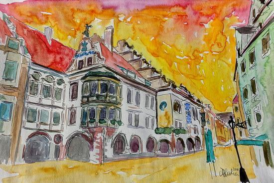Munich Hofbrauhaus Sunset Am Platzl-Markus Bleichner-Art Print