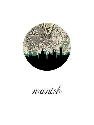 Munich Map Skyline--Art Print