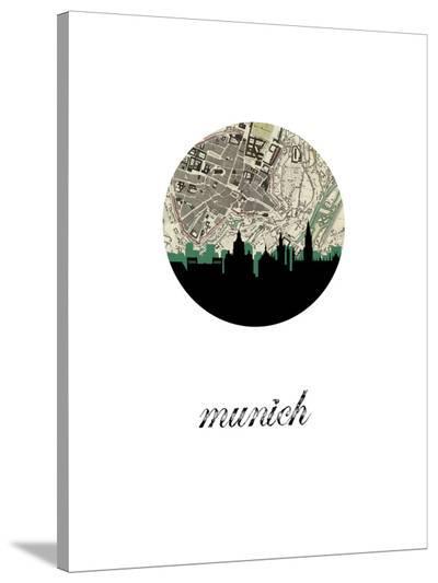 Munich Map Skyline-Paperfinch 0-Stretched Canvas Print