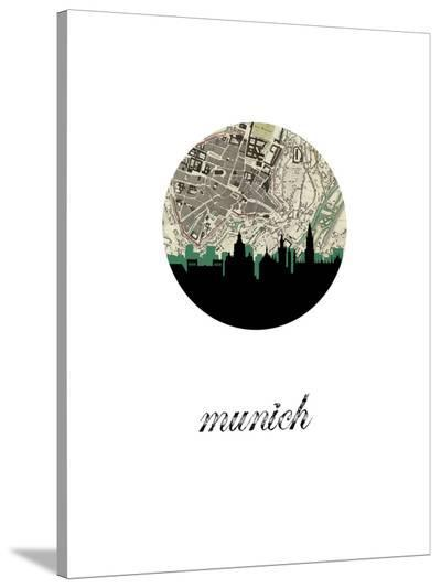 Munich Map Skyline-Paperfinch 0-Stretched Canvas Print