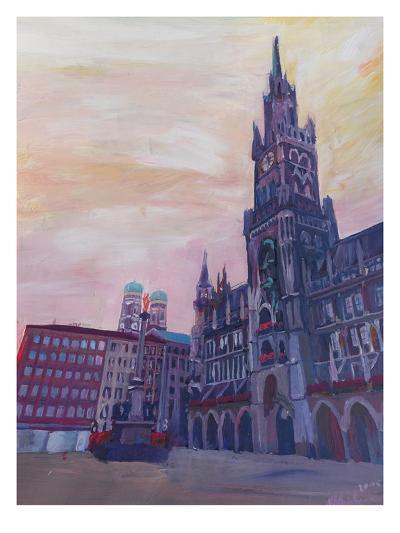 Munich Marienplatz With Church Of Our Lady At Sunset-M Bleichner-Art Print