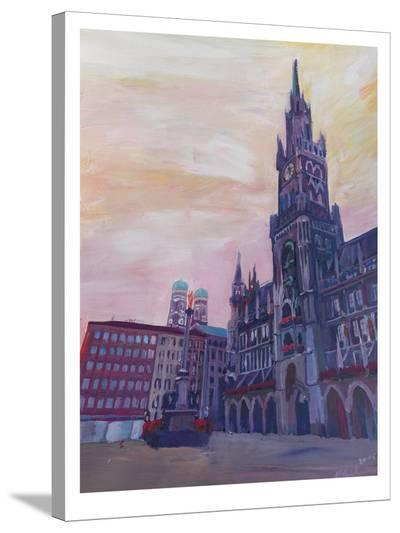 Munich Marienplatz With Church Of Our Lady At Sunset-M Bleichner-Stretched Canvas Print