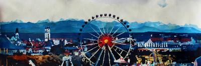 Munich Oktoberfest Panorama with Alps and Giant Wheel-Markus Bleichner-Art Print
