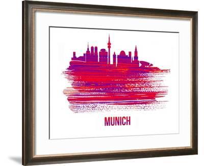 Munich Skyline Brush Stroke - Red-NaxArt-Framed Art Print