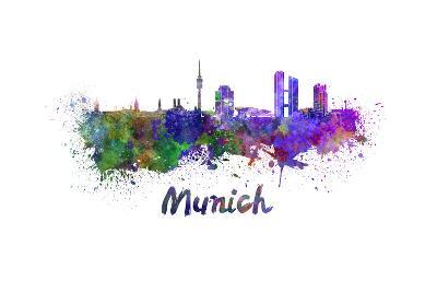 Munich Skyline in Watercolor-paulrommer-Art Print