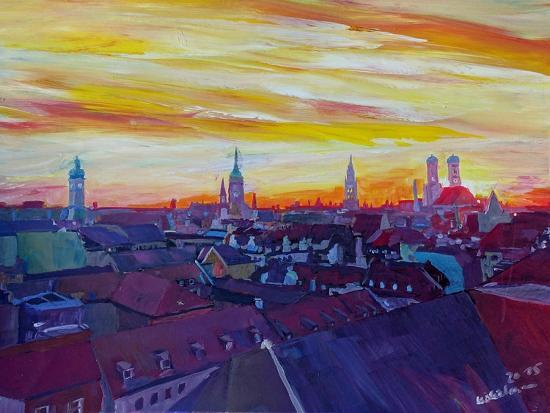 Munich Skyline with Burning Sky at Sunset-Markus Bleichner-Art Print