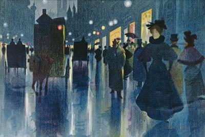 Munich Street at Night-Karl Vetter-Giclee Print