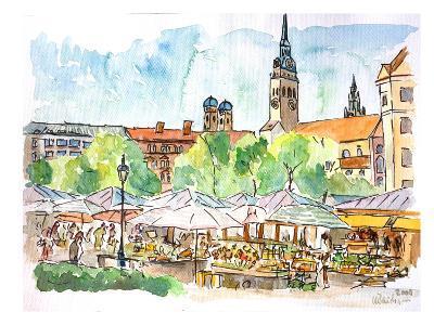 Munich Viktualienmarkt Aquarell-M Bleichner-Art Print