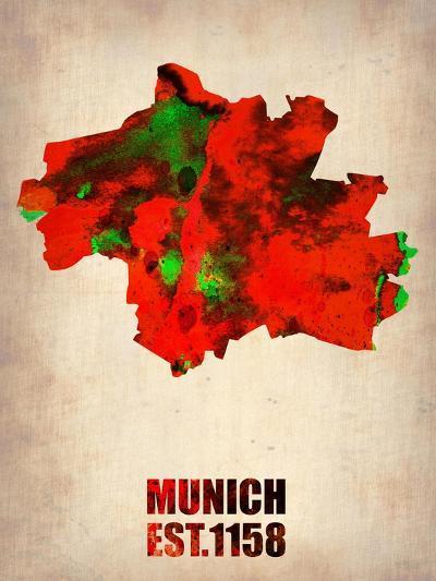 Munich Watercolor Map-NaxArt-Art Print