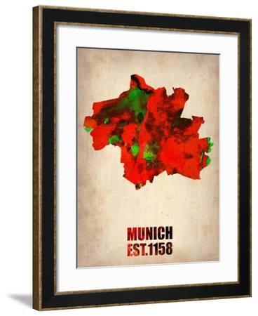 Munich Watercolor Map-NaxArt-Framed Art Print