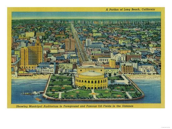 Municipal Auditorium on Beach, Oil Fields in Distance - Long Beach, CA-Lantern Press-Art Print
