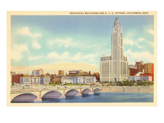 Municipal Buildings, Columbus, Ohio--Art Print