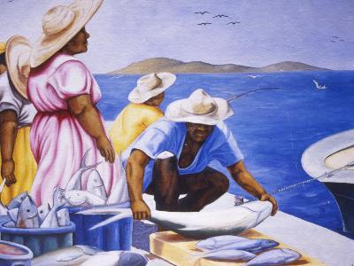 Mural at Public Market, Marigot, St. Martin, Caribbean-Greg Johnston-Photographic Print