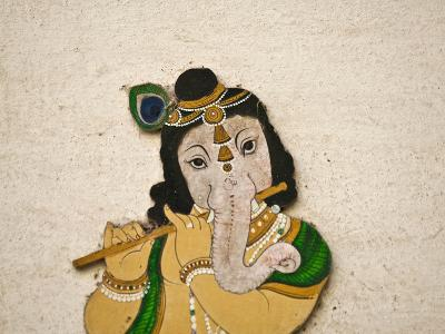 Mural Depicting Ganesha, a Hindu Deity, Inside City Palace, Udaipur, Rajasthan, India-Keren Su-Photographic Print