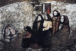 Mural Depicting Women in Traditional Costume, Mural in Orgosolo, Sardinia, Italy