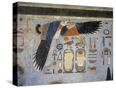 Mural Paintings of Vulture Goddess Nekhbet Grasping Amulet in Claws for Protection
