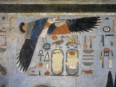 Mural Paintings of Vulture Goddess Nekhbet Grasping Amulet in Claws for Protection--Giclee Print