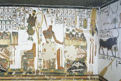 Mural Paintings, Queen Holds Sekhem Sceptre to Consecrate Table of Offerings before Osiris and Atum--Giclee Print