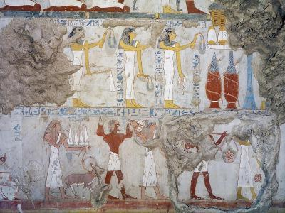Mural Paintings Showing Votive Offerings in Tomb of Scribe and Granary Accountant--Giclee Print
