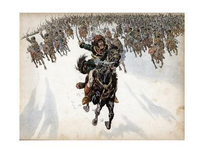 Murat at the Head of the Cavalry in Battle of Eylau-Jacques de Breville-Giclee Print