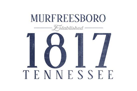 Murfreesboro, Tennessee - Established Date (Blue)-Lantern Press-Art Print