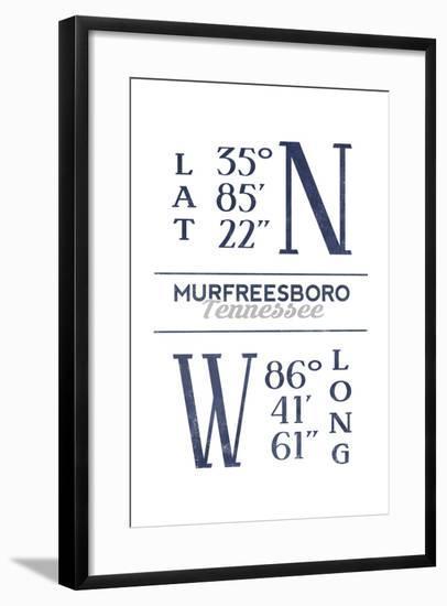Murfreesboro, Tennessee - Latitude and Longitude (Blue)-Lantern Press-Framed Art Print