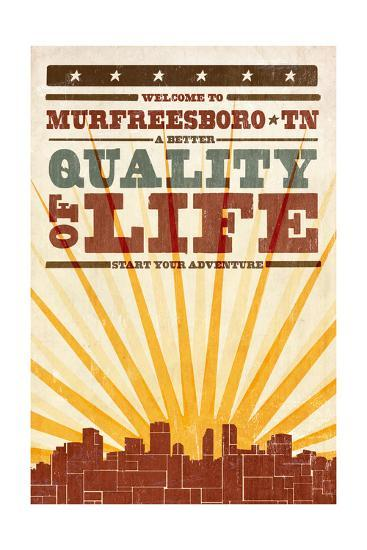 Murfreesboro, Tennessee - Skyline and Sunburst Screenprint Style-Lantern Press-Art Print