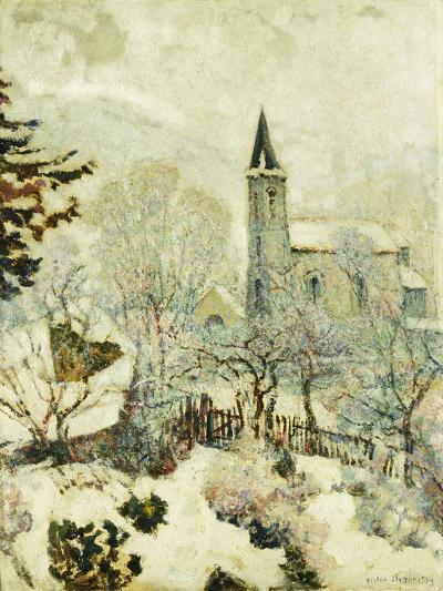 Murol Church in Winter; L'Eglise De Murol En Hiver, 1928--Giclee Print