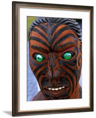 Muruika, a Modern Maori Carving with Glowing Green Eyes, Rotorua, New Zealand-Anders Blomqvist-Framed Photographic Print